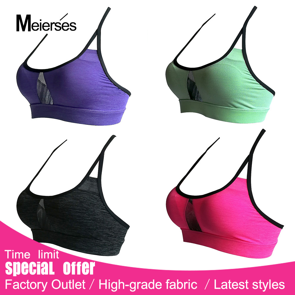MEIERSES 2018 New Sports Bra Women Mesh Fitness proof Padded Yoga Bras Workout Gym Bra Top Running Wear XL 3XL 4XL sports wear for women gym yoga sets fitness set gym workout sports wear mesh patchwork sports suit woman running clothing slim