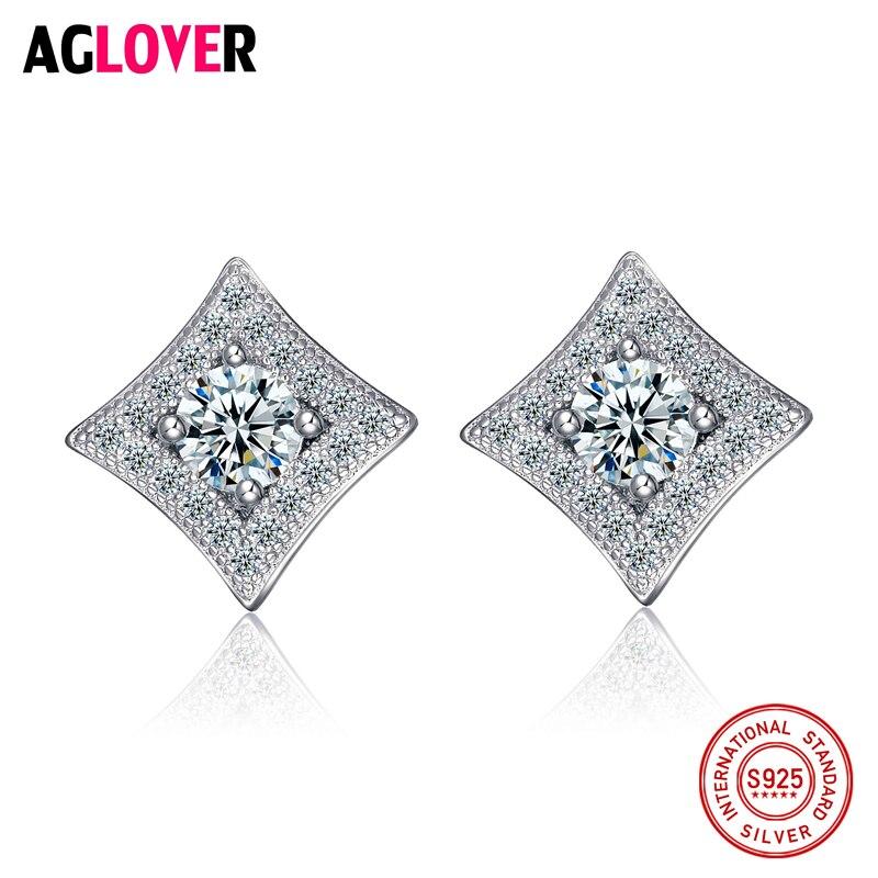 Genuine 925 Sterling Silver Clear Zircon Round CZ Crystal Women Geometry Stud Earrings Fashion Charm Jewelry