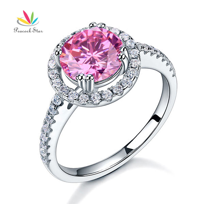 Peacock Star Solid 925 Sterling Silver Wedding Promise Engagement Halo Ring 2 Ct Fancy Pink Jewelry