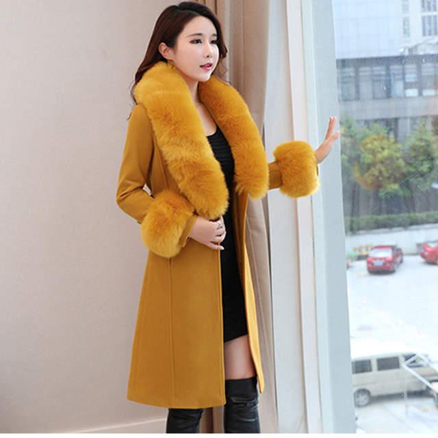 cc1425913 € 49.47 10% de DESCUENTO Nueva moda de otoño invierno Casual para mujer  gabardina caqui abrigo largo ropa suelta para dama con cinturón de lana y  ...