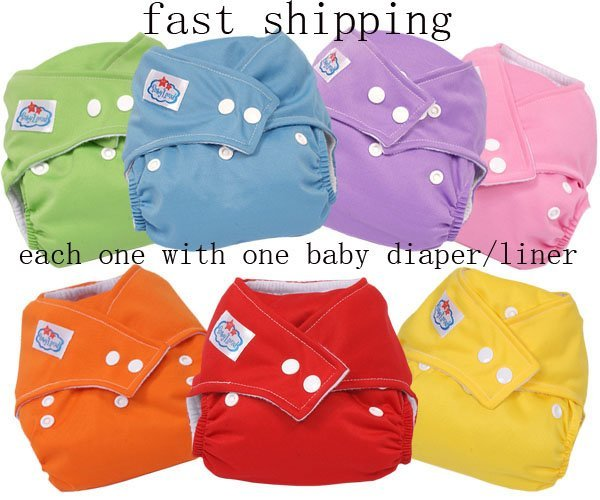 free shipping one-size Adjustable Babyland resuable baby cloth diaper nappy +1 insert 7COLORS