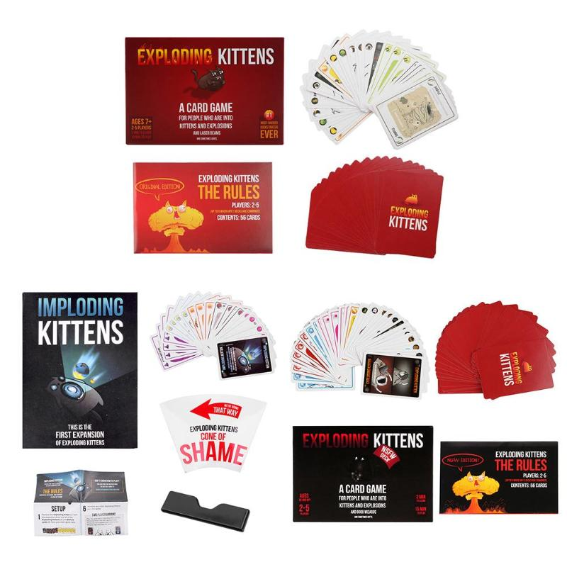 Fun Table Card Imploding Exploding Kittens Card Family Gathering Game Gift Desktop Puzzle Game Cards for Party Games Playing falling tumbling monkeys fun party games