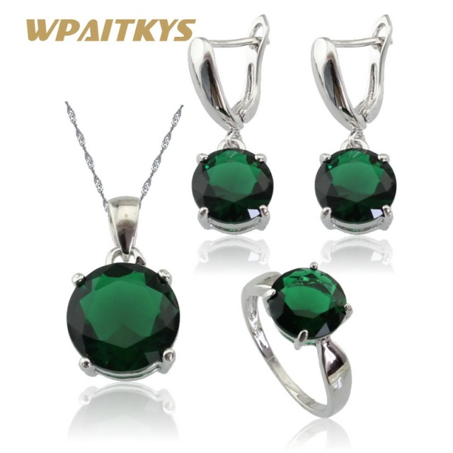 Silver Color Jewelry Sets For Women Green Laboratory Created Emerald Necklace Pendant Drop Earrings Rings