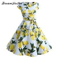 Dreamjieshi Cute Women White Dress With Print 2018 Summer Short Sleeve Slim Casual Vintage Ball Evening
