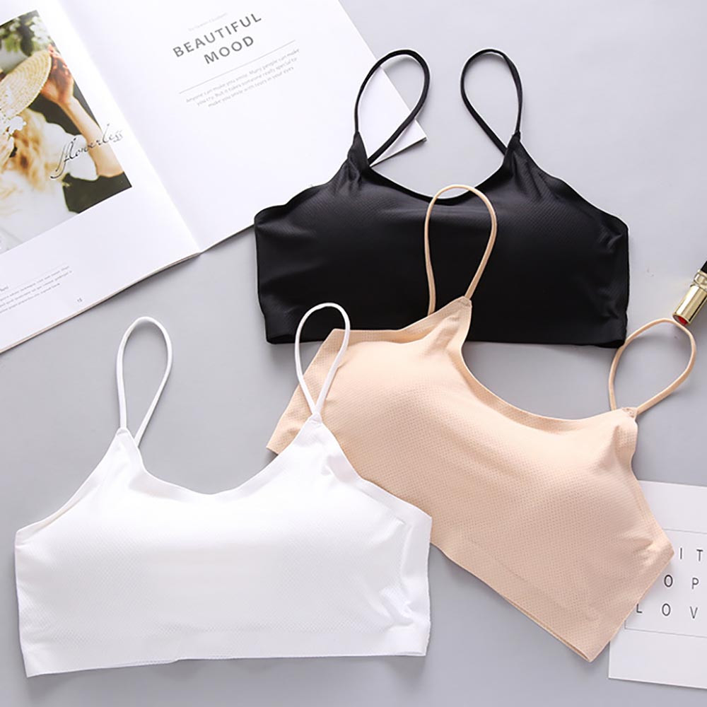 Women's Clothing Women Solid Bras Push Up Bra Sexy Bra Top Vest Breathable Chest Pad Wearing Sports Underwear Comfortable Breathable Bra Tops & Tees
