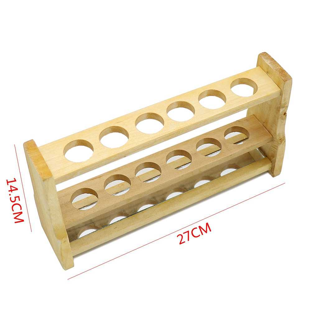 6 穴木製比色試験管ラック厚い木製チューブラック研究所輸出メーカー穴直径 28 ミリメートル