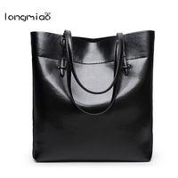 Longmiaoผู้หญิงของกระเป๋าสบายๆไหล่ที่มีคุณภาพสูงหนังc rossbodyที่เรียบง่ายสีดำยี่ห้อถุงถังมืออาชี...