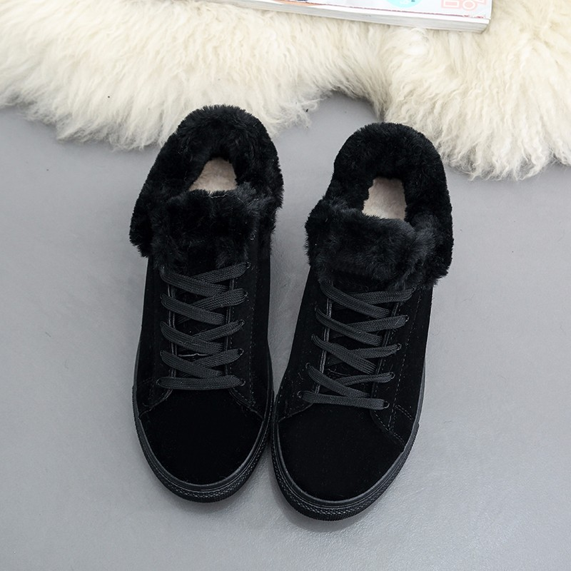Women Flats For Winter Plush Warm Shoes Casual Flat Heels Lace Up Ladies Shoes Size 35-40 Black Gay Pink Fashion Fur Shoes NX5 (14)
