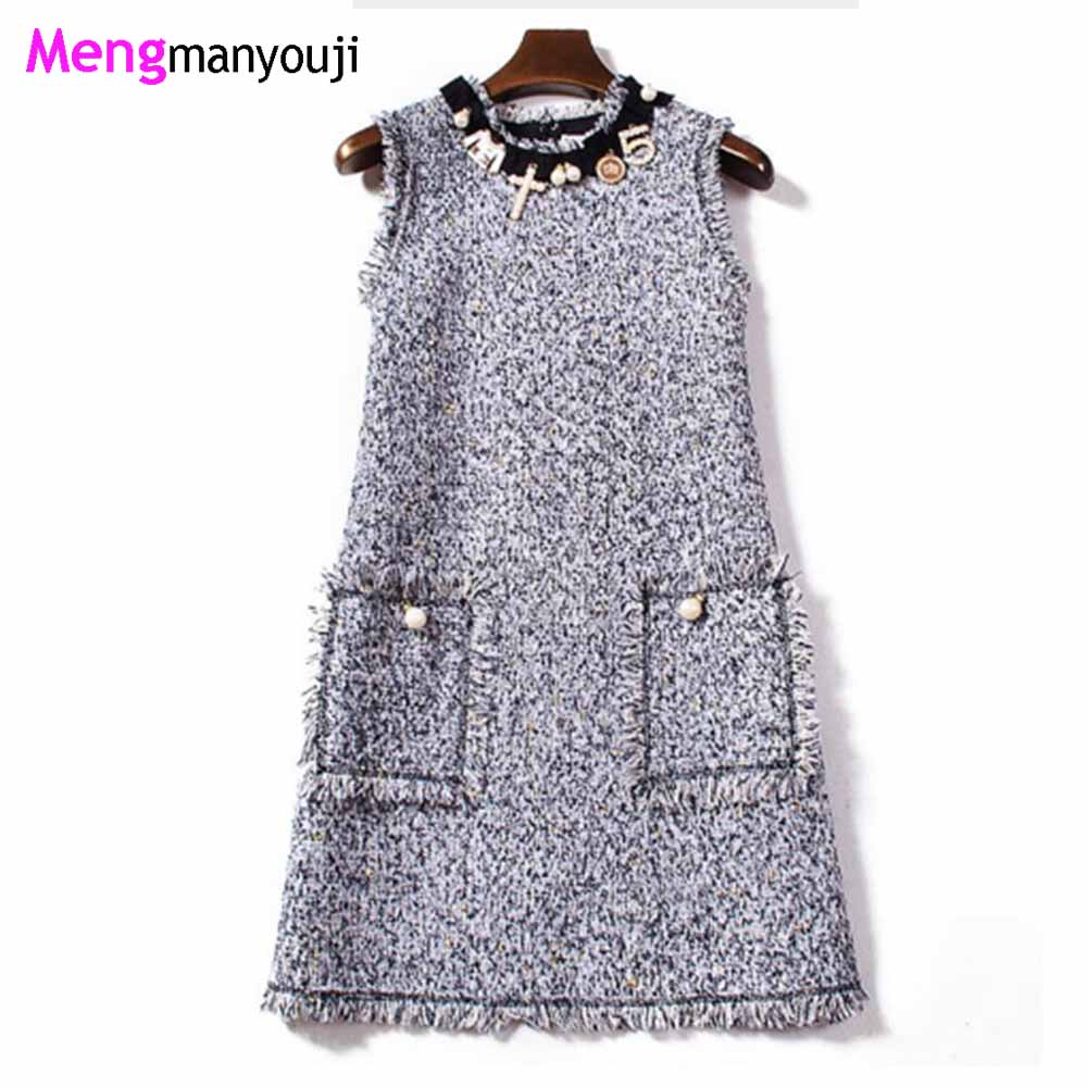 Women Elegant Pearl Beads Tweed Dress Cute Vest Sleeveless Woolen Party Dress Banquet Sequin Winter Dresses