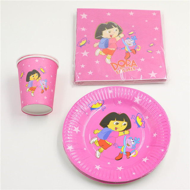 8 people Convenience Disposable cartoon dora kids birthday decoration party paper cup/glass+paper plates napkin supplies 36pc