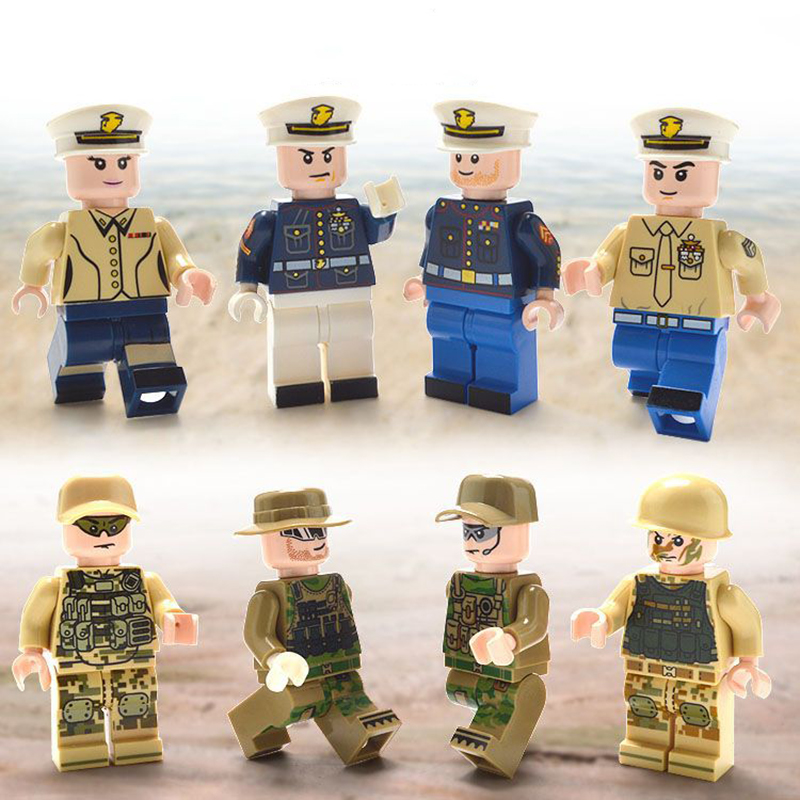 8Pcs/set DIY Figures Navy and army Military general Building Blocks Toy Kids Educational City Set for Child gift Assembled block child wooden educational toy city venue building blocks toys 50 pieces a set