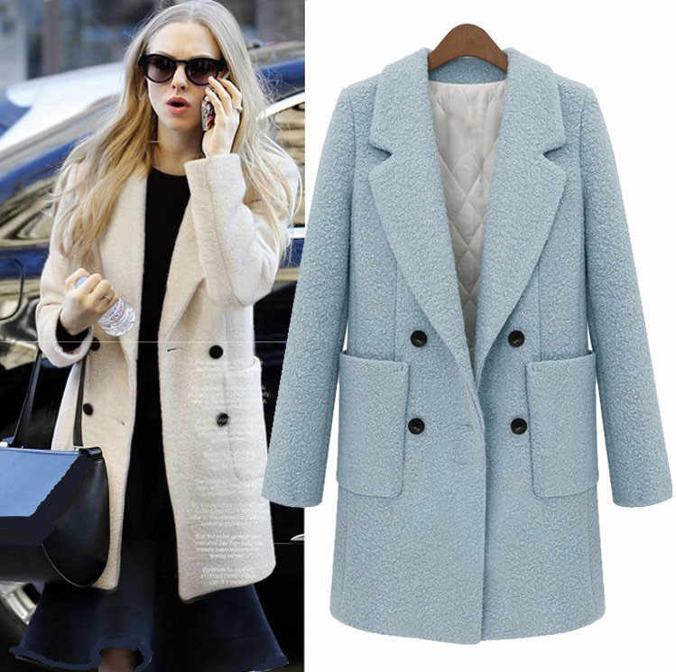 UK 2018 Autumn Winter Women Turquoise blue White Simple Woolen Long Coat  Notched Thick Tweed Outerwear Casacos femininos