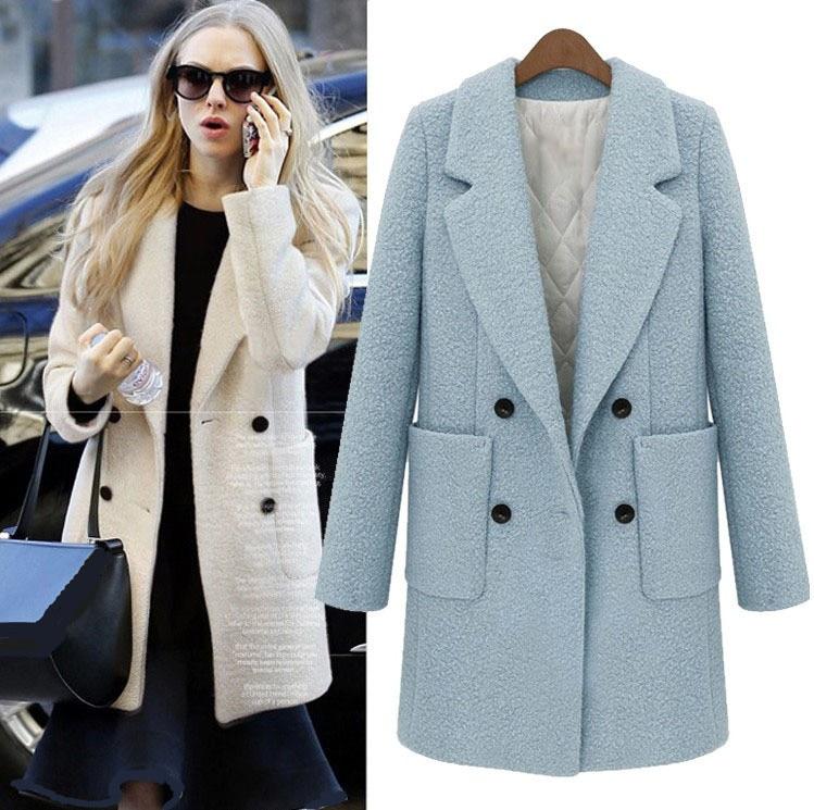 Uk 2018 Autumn Winter Women Turquoise Blue White Simple