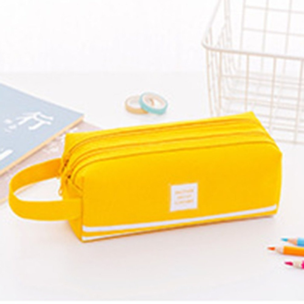 Double Layers Multifunctional Solid Color School Pencil Bag Pencil Pouch Office Stationery Oxford Cloth Pencil Case Bag