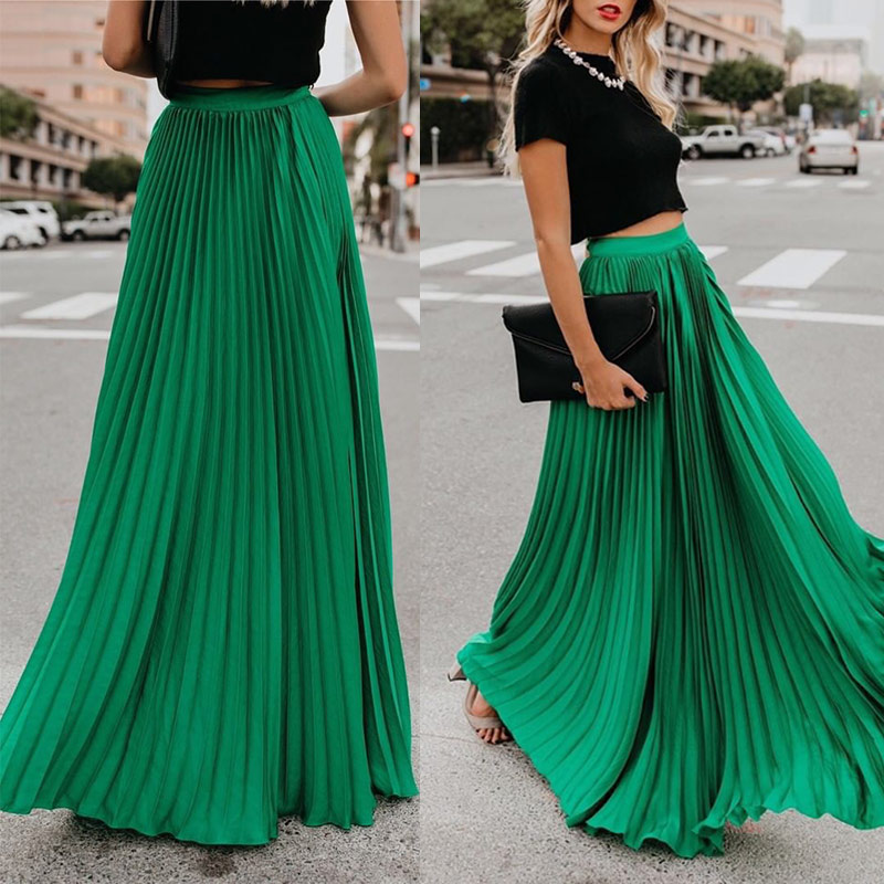 Pleated Chiffon High Waist Women's Maxi Skirts Floor Length Solid Long Skirt Ladies 2019 Loose Green Black Red Bottoms Female
