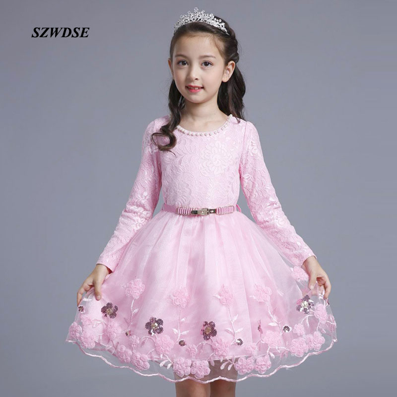 Children's THIN/THICKEN dress girls' Floral embroidery Voile full-sleeve waistband lace knee-length ball-gown dress 4-12 years pocket full length tee dress page 4
