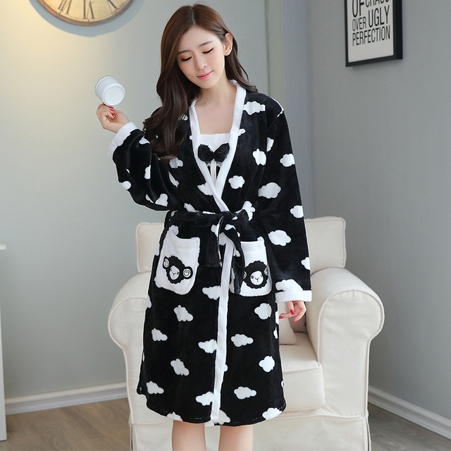 dd5533b700 Thickening Flannel Winter Robe Sexy Robes for Women Bathrobe Dressing Gowns  for Women Bathrobes Young Girl Sling 2 Pcs Robe