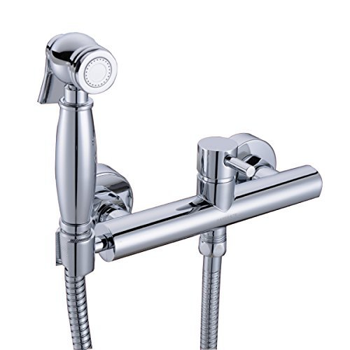 Toilet Bidet Sprayer Faucet Mixing Valve with Hose, Bracket and Brass Sprayer Wall Mount , Polished Chrome blanco alta 512319 tap mixing valve oriental style chrome by blanco