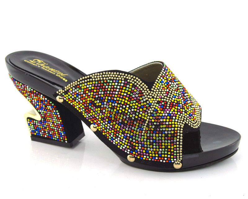 2015 african italian Shoes Ladies Shoes for Italian design KL1608 size 38 43 Black color for
