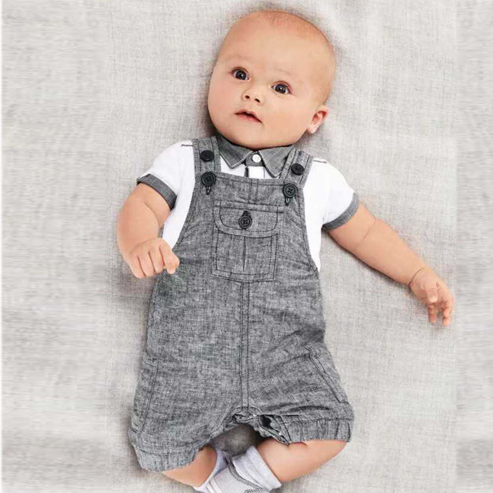 Baby Boys Kids Formal Suits Summer Boy Gentleman Clothes Set Short Sleeve Shirt+Gray Overalls Trousers Outfit For Children