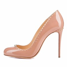 Amourplato Women's Round Toe Gold-tone Studded Pumps 10cm High Heel Patent Party Wedding Dress Pumps