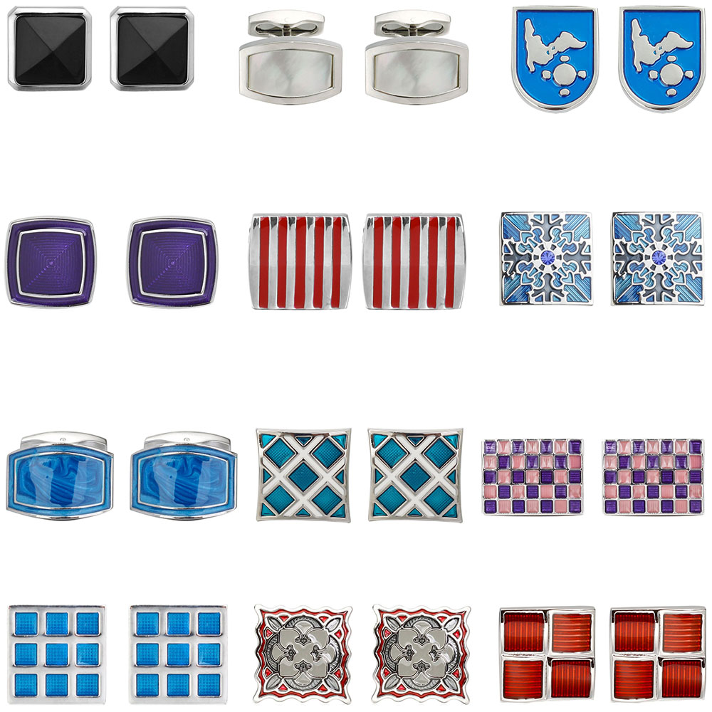 High-end Men's Shirts Cufflinks Collocation Accessories Gifts Red / Purple / Blue Mens Fashion Design Carving Cufflinks