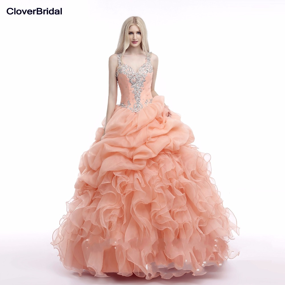 In stock organza ruffled cheap new coral quinceanera dresses 2015 with beaded straps mint green see though back ball gown