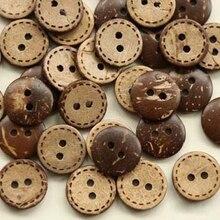 50 шт./лот классические кокосовые пуговицы 2-деревянная кнопка с отверстиями для шитья скрапбукинга деревянные пуговицы(SS-497