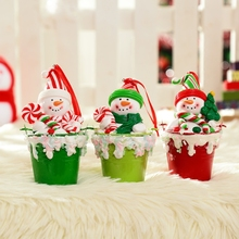 3Piece/Set Color Randomly XMAS Tree Cute Decoration Creative Ceramic Snowman Santa Christmas Tree Ornament