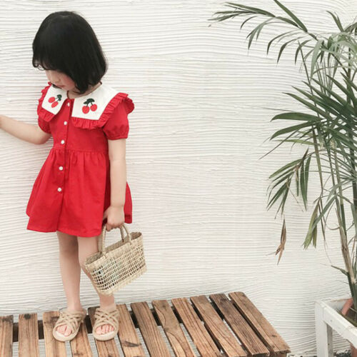 Design Cherry Embroidery Baby Girls Princess Dress Cotton Toddler Red Dreses in Dresses from Mother Kids