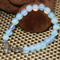 New fashion unique bracelet white round 8mm opal moonstone retro buddha head pendant jewelry making for women 7.5inch B2181