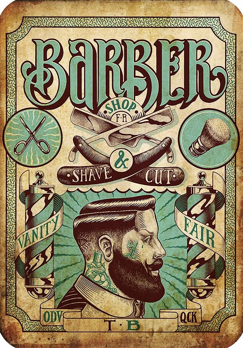 Vintage Hairdresser Tattoos Patterned Posters Kraft Paper Interior Painting Restoring Wall Sticker Barber Shop Home Decoration