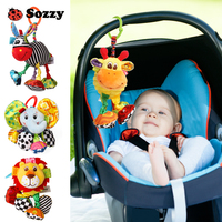 Sozzy Vibrate Pull And Shake Plush Stuffed Animals Multiple Textures Soft Soothing Stroller Crib Hanging Baby