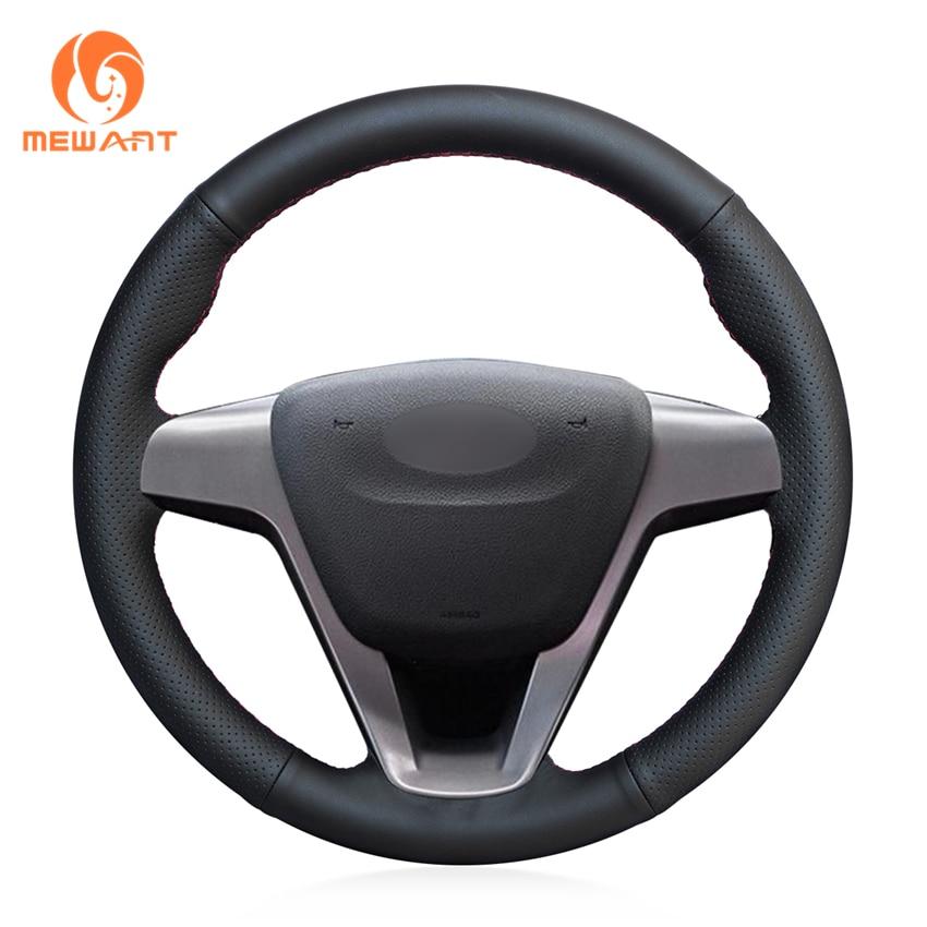 MEWANT Black Genuine Leather Car Steering Wheel Cover for Lada Vesta 2015-2017 wcarfun diy black leather hand stitched car steering wheel cover for lada vesta 2015 2016 2017