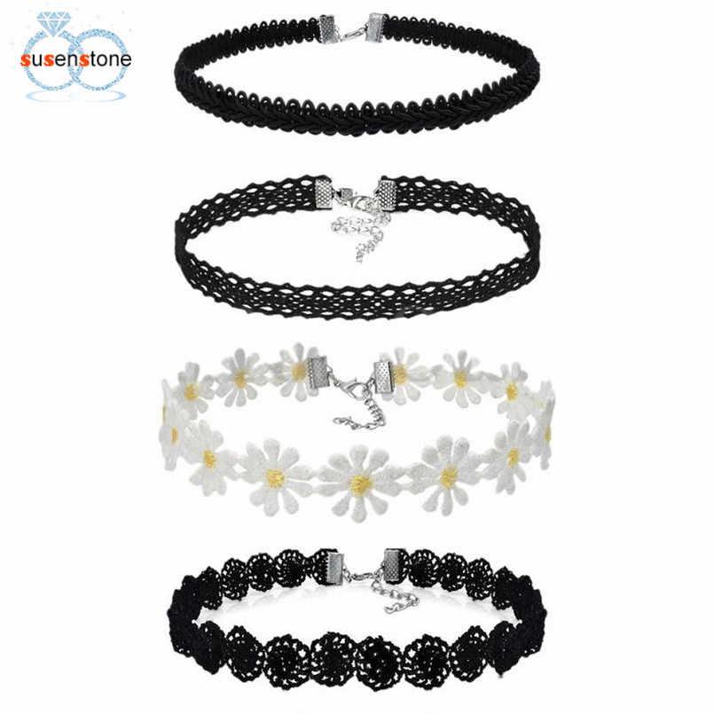 SUSENSTONE 4 piezas collar gargantilla conjunto terciopelo elástico clásico gótico tatuaje gargantilla de encaje crisantemo flor collier femme #20