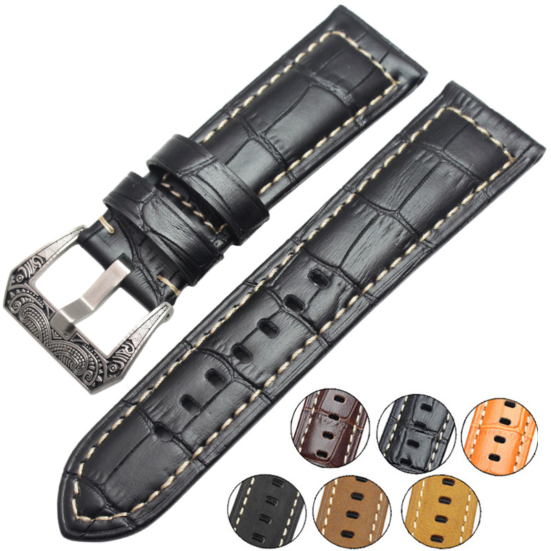 22mm 24mm Genuine Leather Wathbands Men Black Brown Orange Wrist Watch Band Strap Belt Retro Brushed Buckle For Panerai high quality genuine leather watchband 22mm brown black wrist watch band strap wristwatches stitched belt folding clasp men