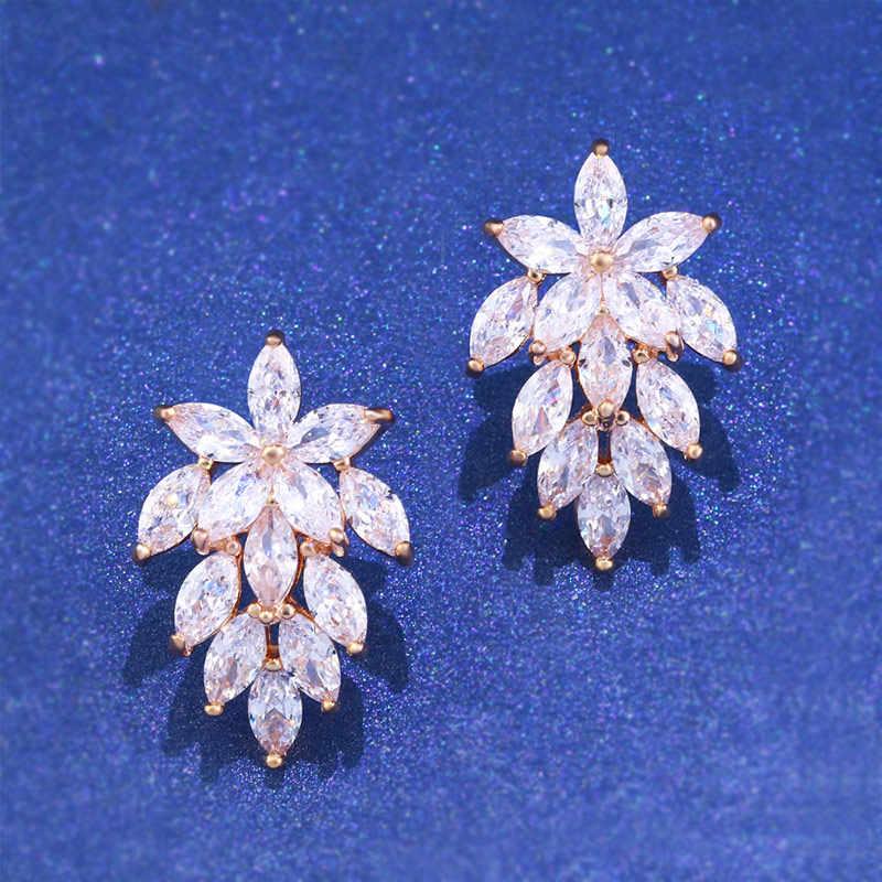 b04ba2f0c OCESRIO New Rose Gold Earrings for Women CZ Cubic Zirconia Stud Snowflake  Earrings Fashion Jewellery ers