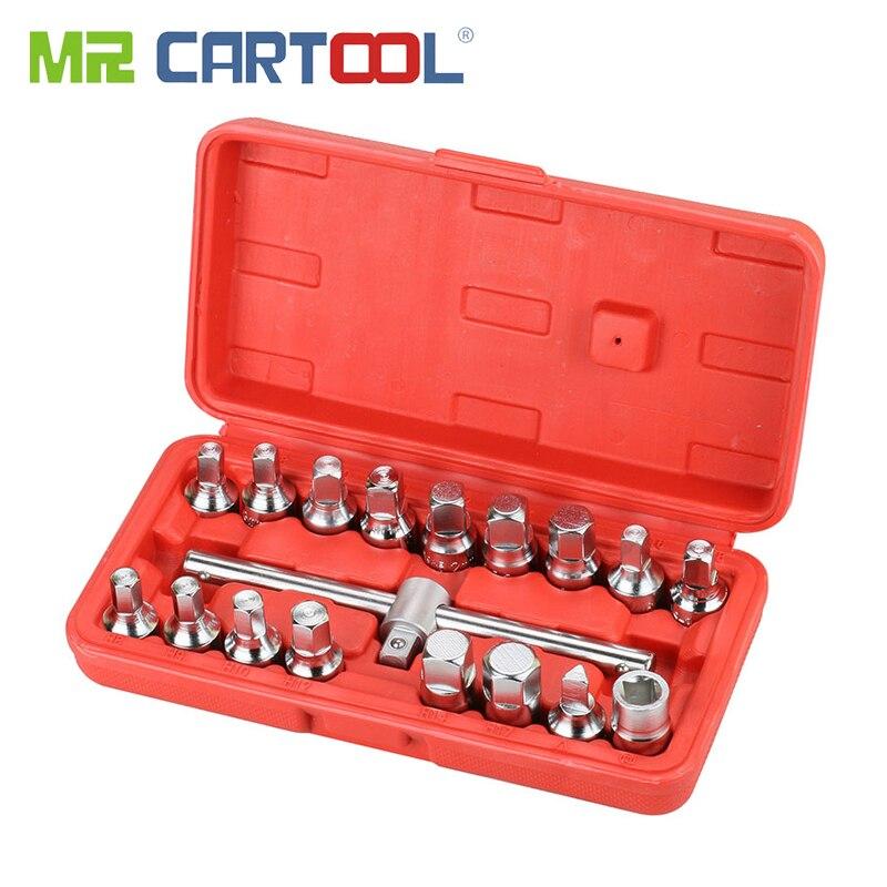 MR CARTOOL 18 шт. сливная труба для слива масла Набор розеток винты инструмент для удаления треугольник квадратный шестигранный Т-бар для снятия ...