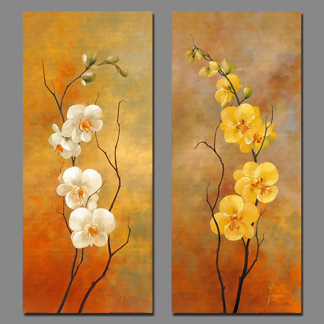 White Yellow Retro Flowers Picture Decoration Plum Canvas Paintings ...