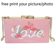 female canvas chain small square handbag customized shoulder bag picture photo custom print wedding party clutch DIY evening