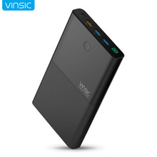 Banco de Potência com QC Rápido para Iphone Vinsic 28000 MAH 18650 3.0 Saída & Entrada 2.4a Dual USB Portátil Carregador 7 Xiaomi Samsung S7