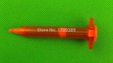 50 КОМПЛ./ЛОТ, 3CC Янтарный Воздуха Дозирования Шприца 4-х частей (баррель + поршень + колпачок + заглушка), клей Диспенсер Ствола, Дозатор жидких