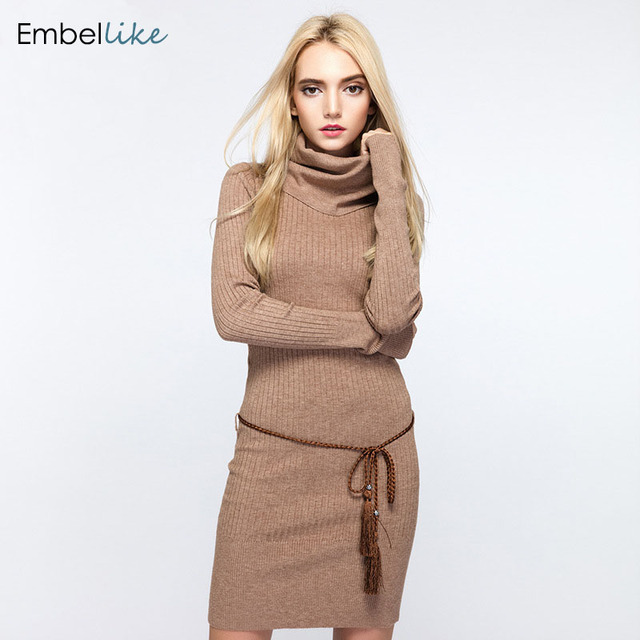 bcf49eaa6e3 Women Cowl Neck Sweater Dress Slim Fit Solid Rib Knit Long Sweaters  Turtlenecks