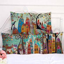 ФОТО linen pillow cover vintage european building style pattern cushion cover home decorative cheap pillow case 45x45cm d1