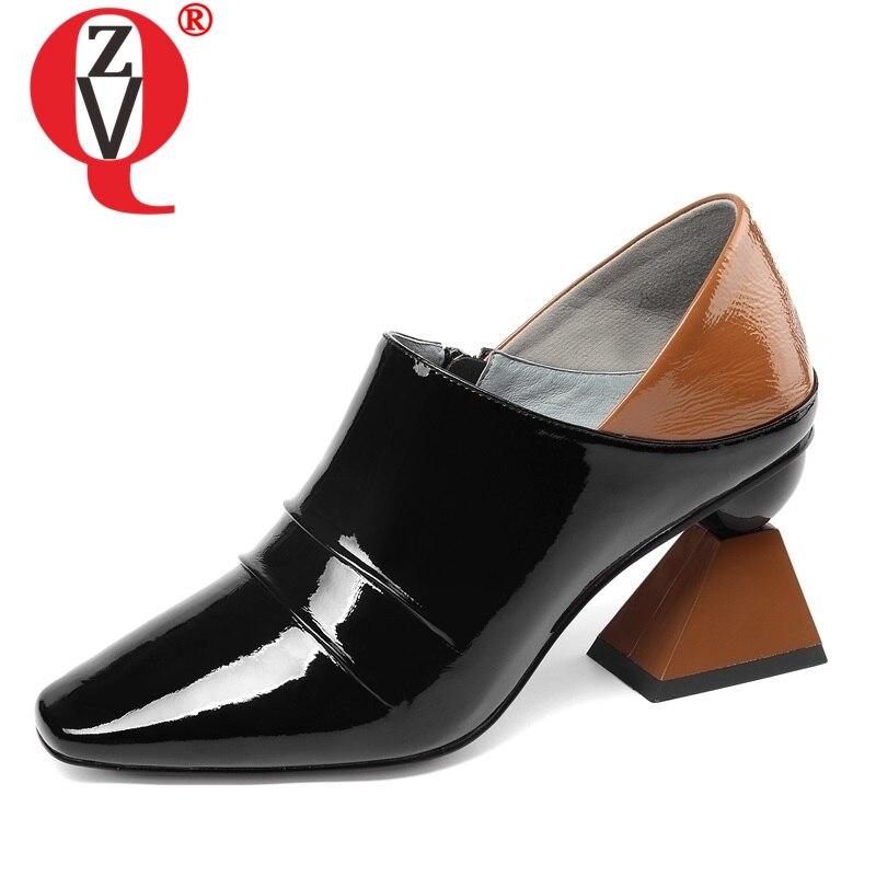 ZVQ รองเท้าผู้หญิงฤดูใบไม้ผลิใหม่แฟชั่นสีผสมสิทธิบัตรปั๊มหนังผู้หญิงนอกสูงแปลกสไตล์สแควร์ toe สุภาพสตรีรองเท้า-ใน รองเท้าส้นสูงสตรี จาก รองเท้า บน   1