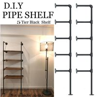 (Set of 2) 5 Layers Industrial Retro Iron Pipe Shelf Wall Hung Bracket DIY Storage Shelves Home Bar Shop Decor Bookshelf