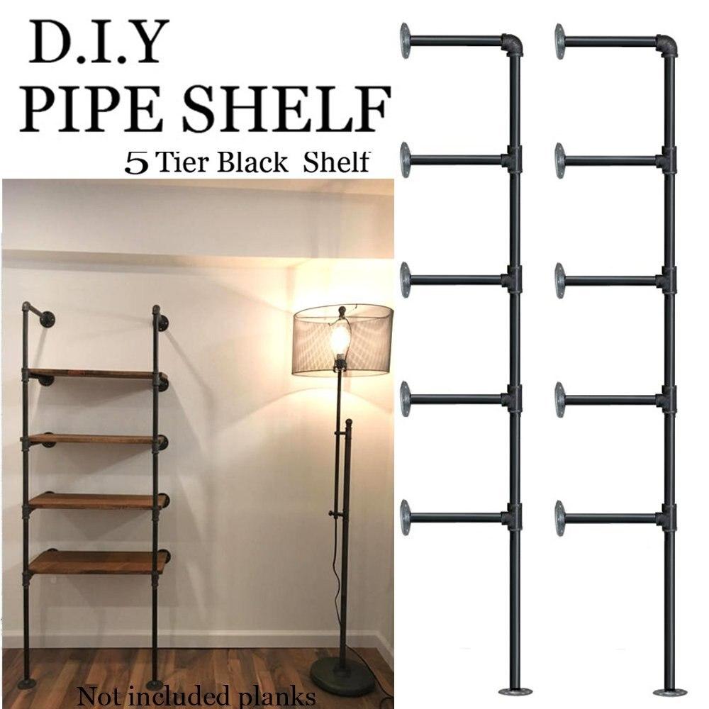 (set Van 2) 5 Lagen Industriële Retro Ijzeren Pijp Plank Muur Gehangen Beugel Diy Opslag Planken Huis Bar Winkel Decor Boekenplank