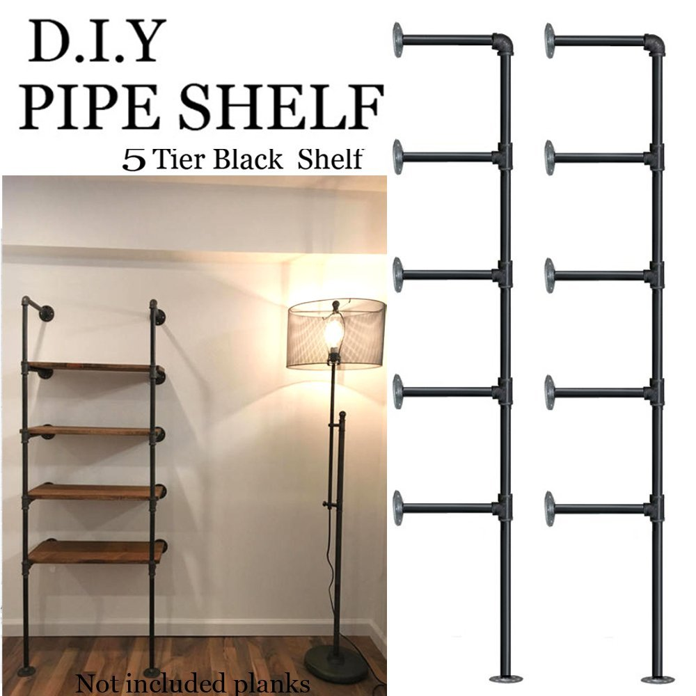 (set Von 2) 5 Schichten Industrielle Retro Eisen Rohr Regal Wand Hing Halterung Diy Lagerung Regale Home Bar Shop Decor Bücherregal