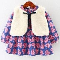 아기 유아 여자 양털 모피 조끼 + 긴 소매 봉제 패딩 드레스 사랑 심장 패턴 공주 드레스 어린이 파티 의류