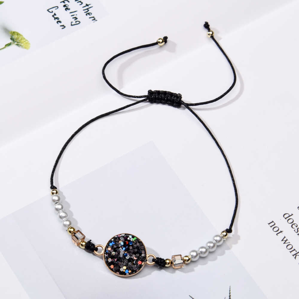 12pcs/Sets Sequins Round Charms Bracelets Women Girl Braided Adjustable Rope Chain Pearl Bead Anklets Wristband Boho Jewelry